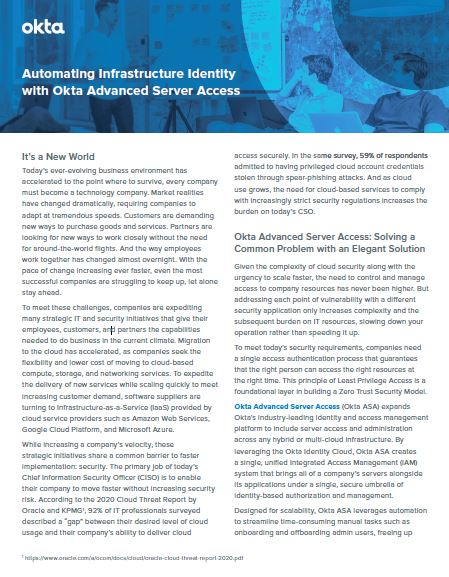 Automating Infrastructure Identity with Okta Advanced Server Access