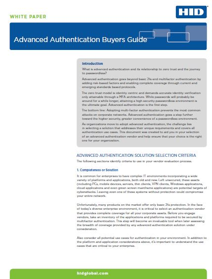 Advanced Authentication Buyers Guide