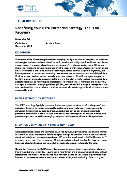 Redefining Your Data Protection Strategy: Focus on Recovery