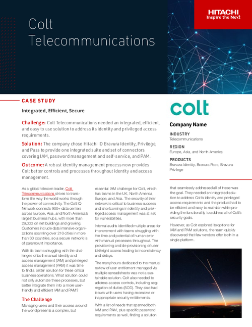 Case Study: Colt Telecommunications | A Robust Identity Management Process