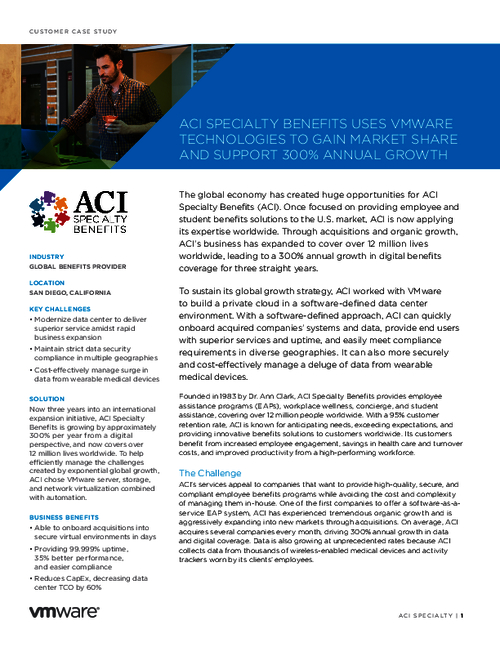 ACI Specialty Benefits Supports its Growth With VMware Technologies