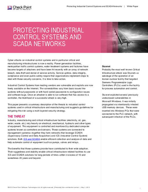 Protecting Industrial Control Systems and SCADA Networks