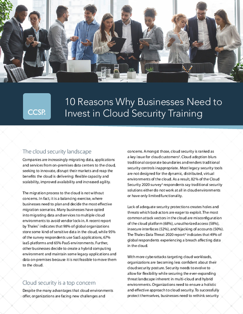 10 Reasons Why Businesses Need to Invest in Cloud Security Training