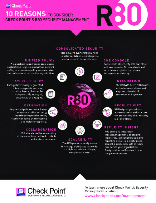 10 Reasons to Consider Check Point's R80 Security Management
