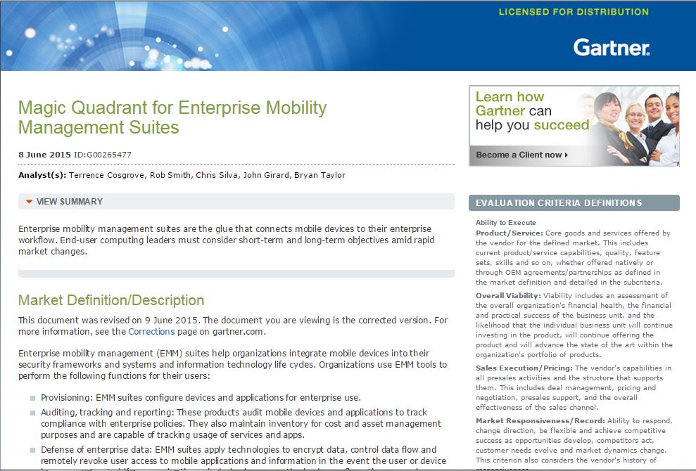 2015 Gartner Magic Quadrant for Enterprise Mobility Management Suites