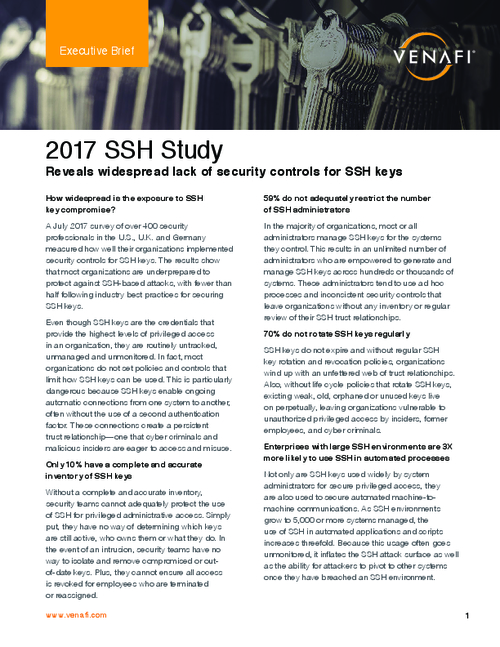 2017 SSH Study - Executive Brief