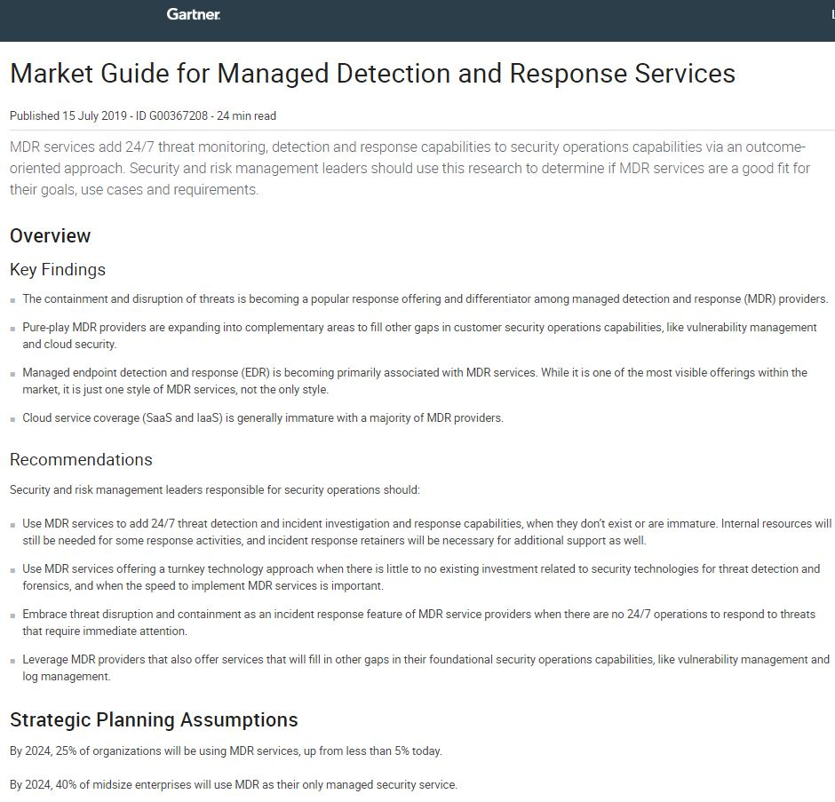 2019 Gartner Market Guide for Managed Detection and Response Services