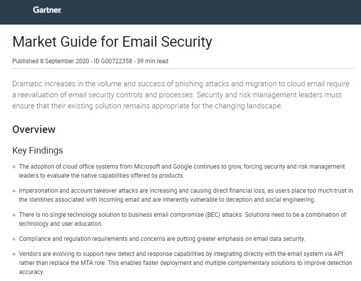 2020 Gartner Market Guide for Email Security