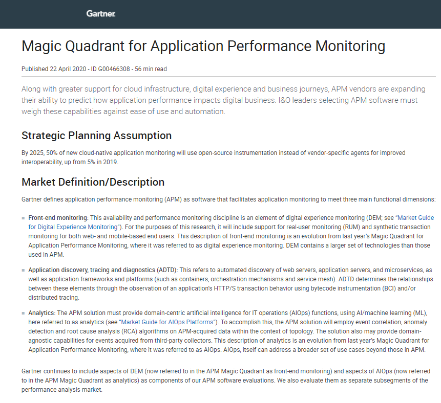 2020 Magic Quadrant for Application Performance Monitoring (APM)