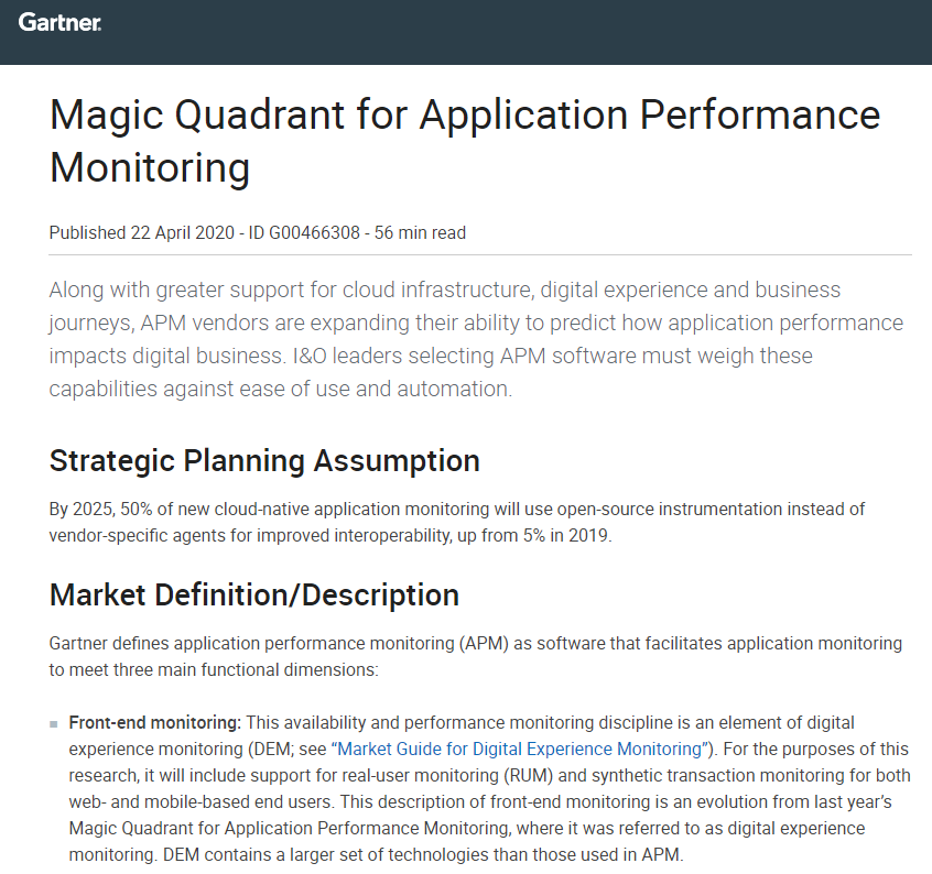 2020 Magic Quadrant for Application Performance Monitoring