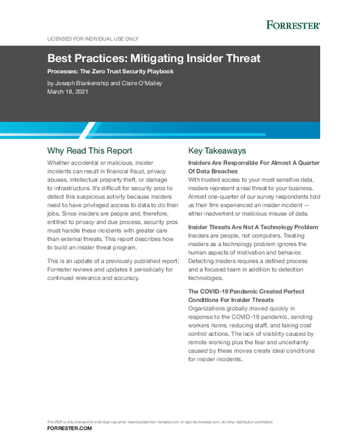 2021 Forrester Report on Best Practices: Mitigating Insider Threats