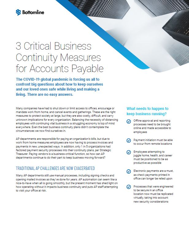 3 Critical Business Continuity Measures for Accounts Payable