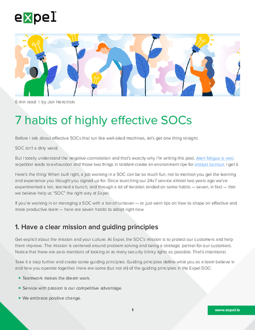 7 Habits of Highly Effective SOCs
