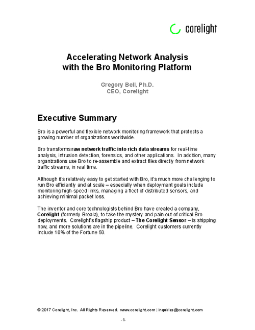 Accelerating Network Analysis with the Bro Monitoring Platform