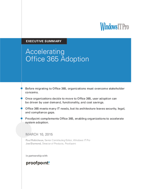 Accelerating Office365 Adoption with Security and Compliance Controls