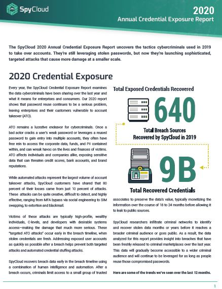 2020 Annual Credential Exposure Report: Account Takeover By the Numbers