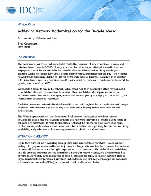 IDC: Achieving Network Modernization for the Decade Ahead