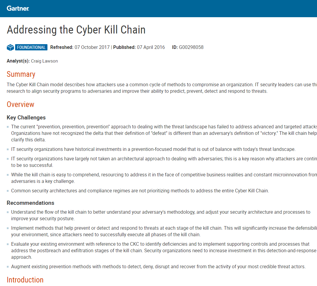 Gartner Report: Addressing the Cyber Kill Chain