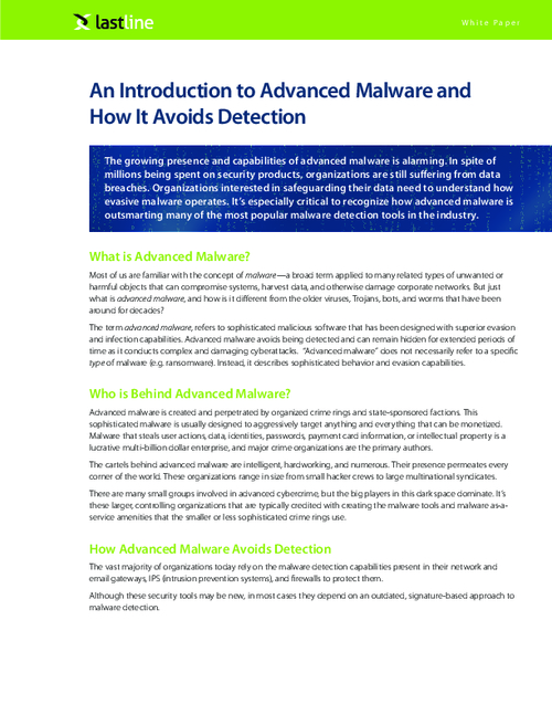 Advanced Malware and How It Avoids Detection