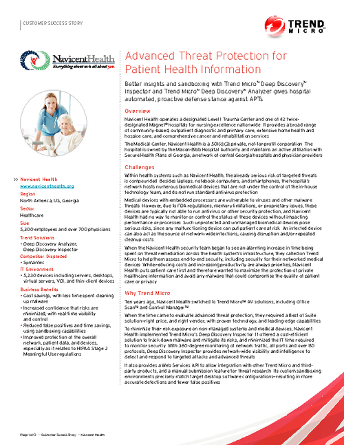 Advanced Threat Protection for Patient Health Information
