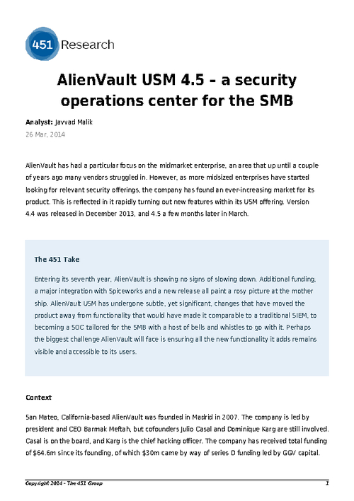 AlienVault USM- A Security Operations Center for the SMB