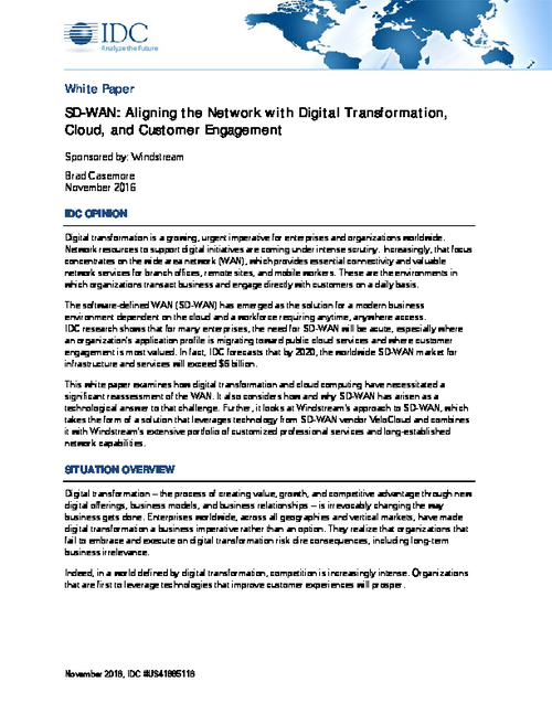 Aligning the Network with Digital Transformation, Cloud and Customer Engagement