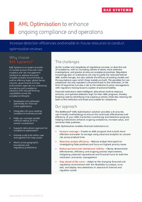 AML Optimization to Enhance Ongoing Compliance & Operations