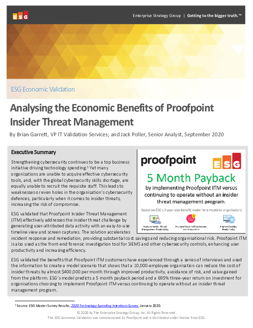 Analysing the Economic Benefits of Proofpoint - Insider Threat Management