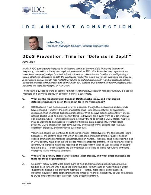IDC Analyst Connection: DDoS Prevention: Time for Defense in Depth