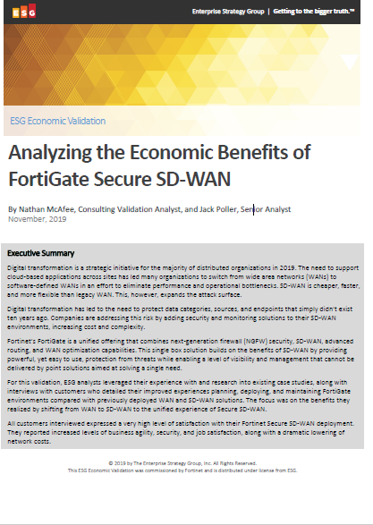 Analyzing the Economic Benefits of FortiGate Secure SD-WAN