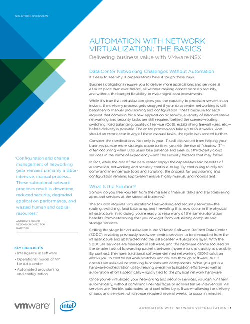 Automation with Network Virtualization: The Basics