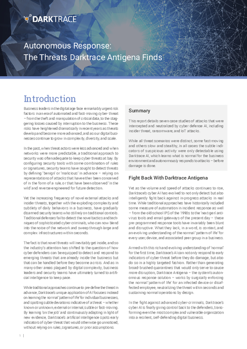 Autonomous Response: The Threats Darktrace Antigena Finds