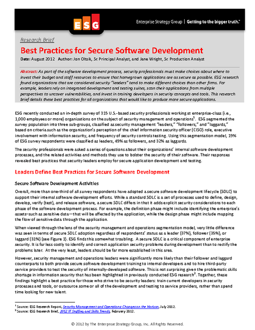 Best Practices for Secure Software Development