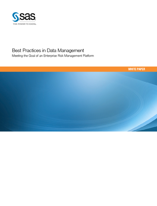 Best Practices in Data Management: Meeting the Goal of an Enterprise Risk Management Platform