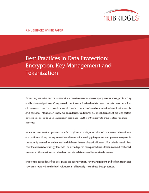 Best Practices in Data Protection: Encryption, Key Management and Tokenization