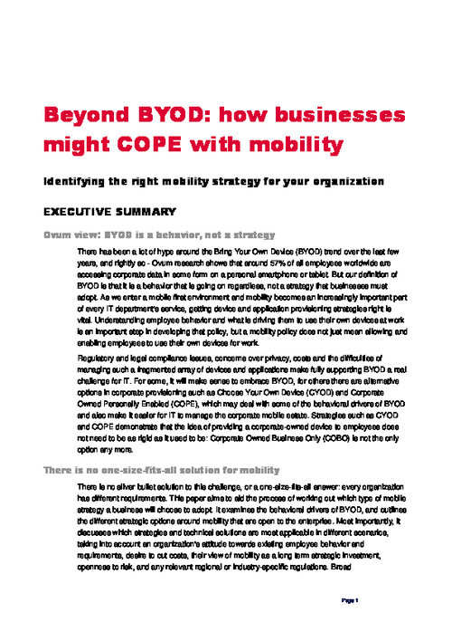 Beyond BYOD: How Businesses Might Cope with Mobility