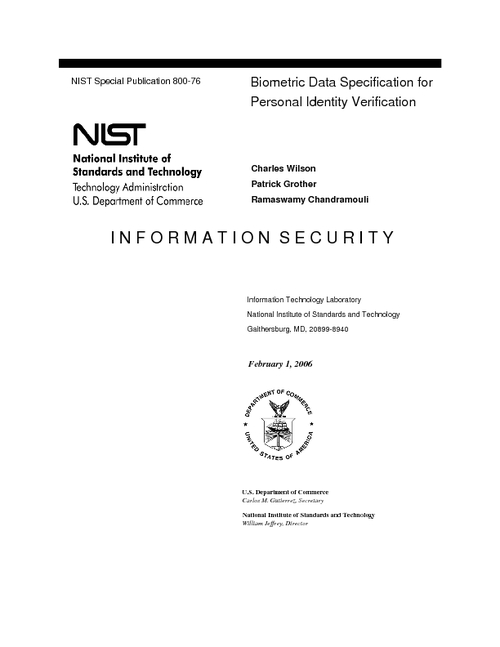 Biometric Data Specification for Personal Identity Verification