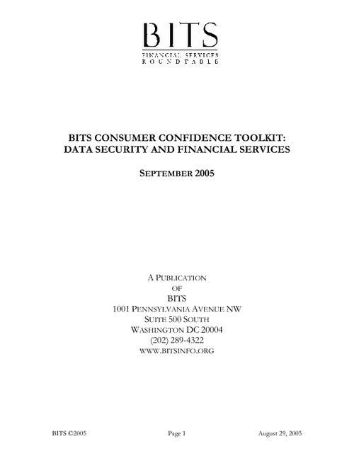 BITS Consumer Confidence Toolkit: Data Security and Financial Services
