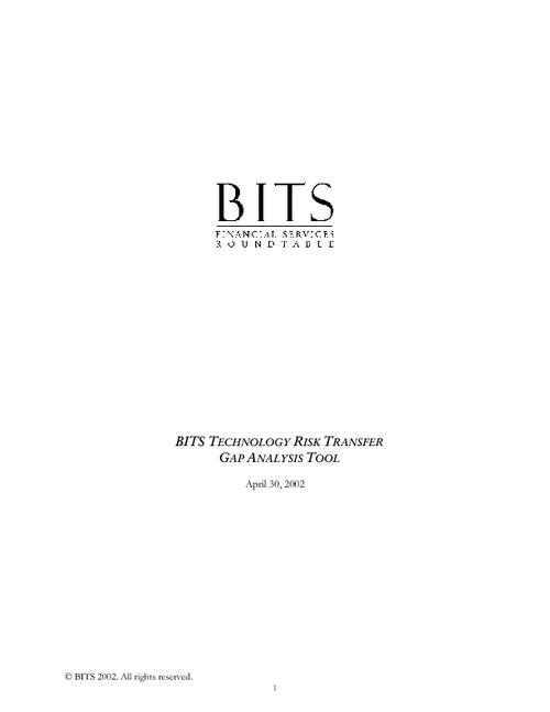 BITS Technology  Risk Transfer Gap Analysis Tool