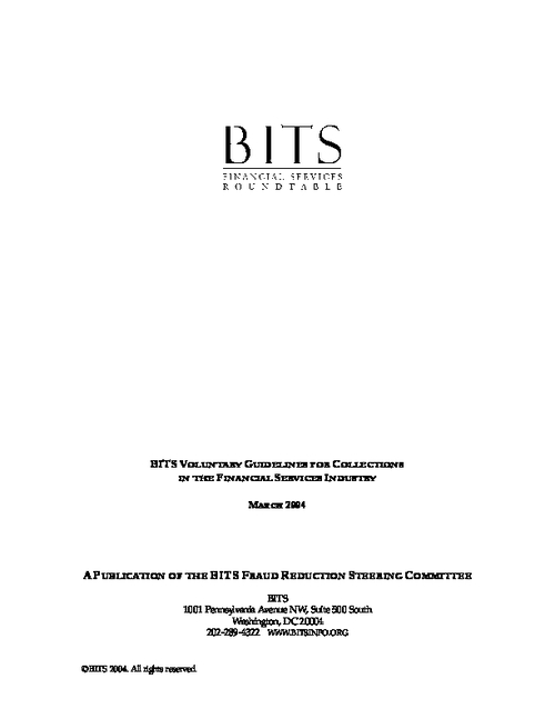 BITS Voluntary Guidelines for Collections in the Financial  Services Industry