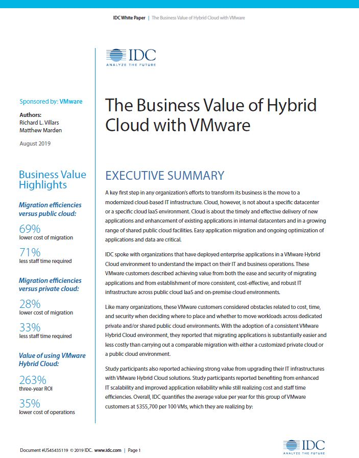 The Business Value of Hybrid Cloud with VMware