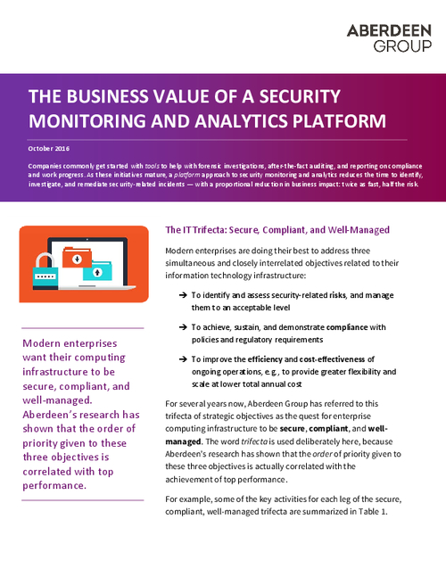 The Business Value of Security Monitoring and Analytics