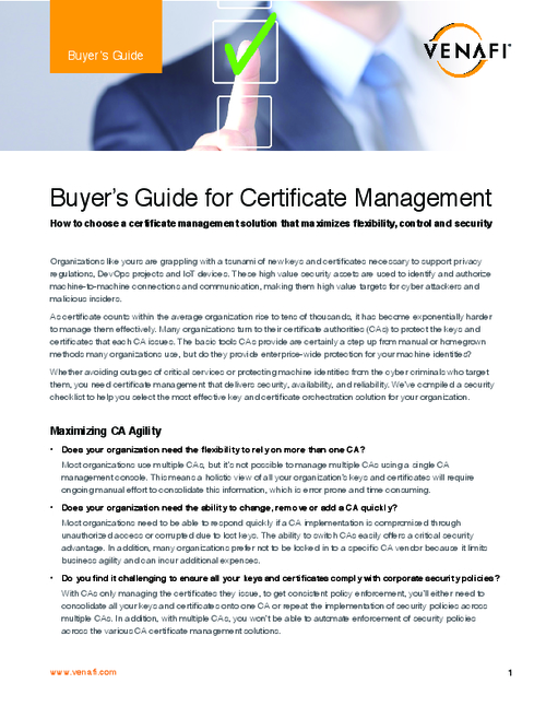 Buyer's Guide for Certificate Management