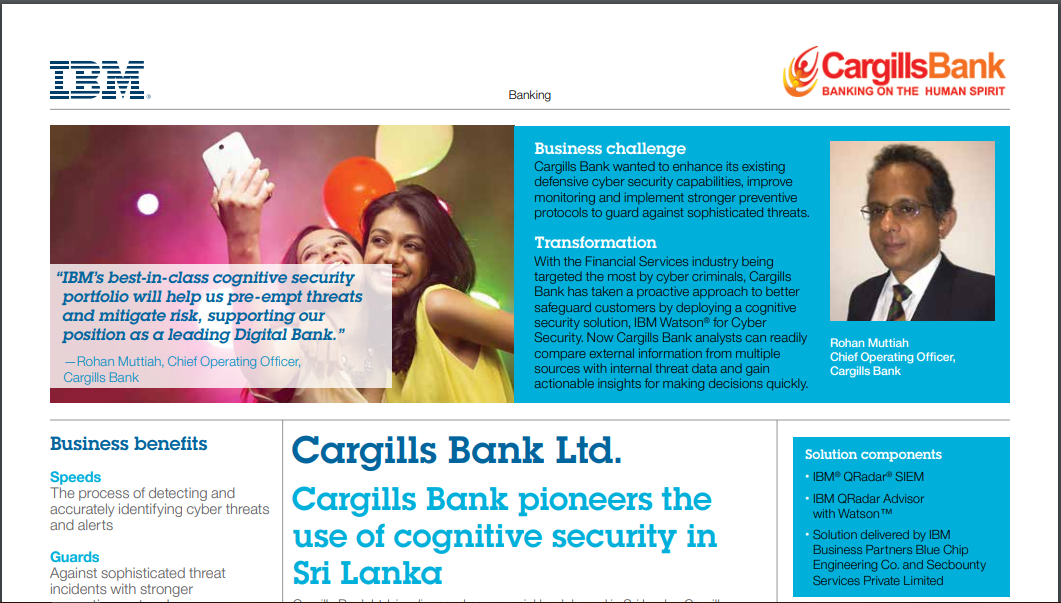 Case Study: Cargills Bank Pioneers the Use Of Cognitive Security