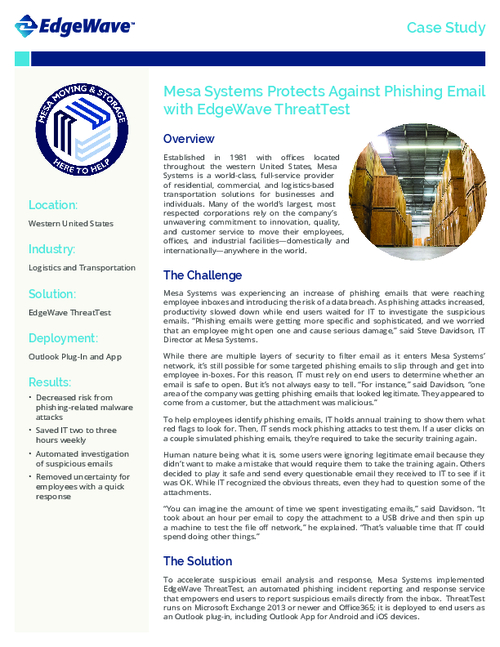 Case Study: End Users Block Suspected Phishing Attacks with New Solution