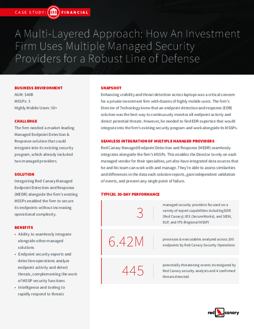 Case Study: How an Investment Firm Uses Multiple MSSPs