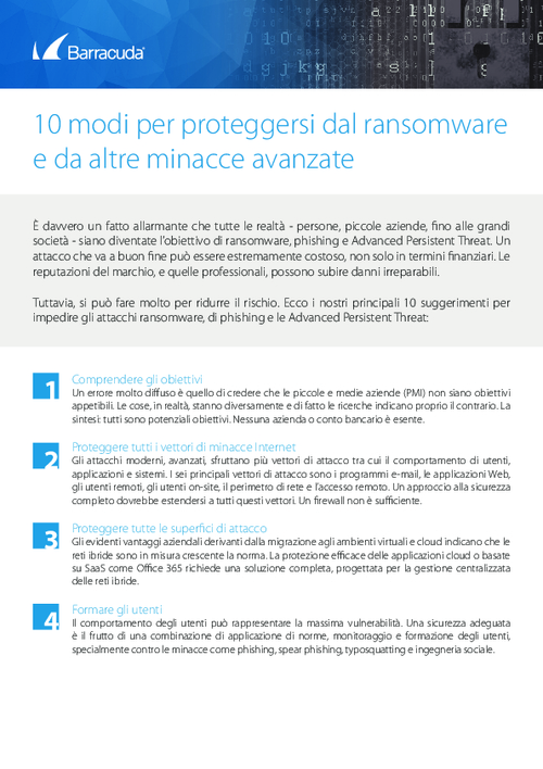 Checklist: Top 10 Ways to Protect Yourself from Ransomware (Italian Language)