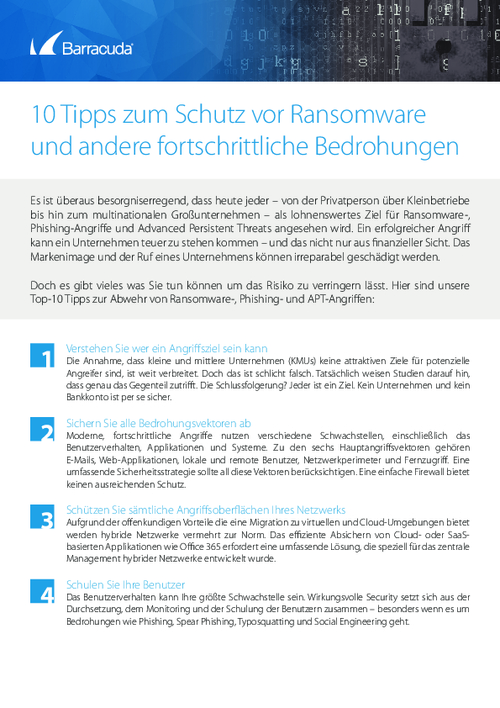 Checklist: Top 10 Ways to Protect Yourself from Ransomware (German Language)