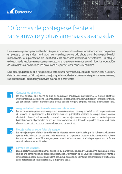 Checklist: Top 10 Ways to Protect Yourself from Ransomware (Spanish Language)