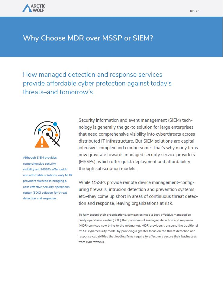 Why Choose MDR over MSSP or SIEM?